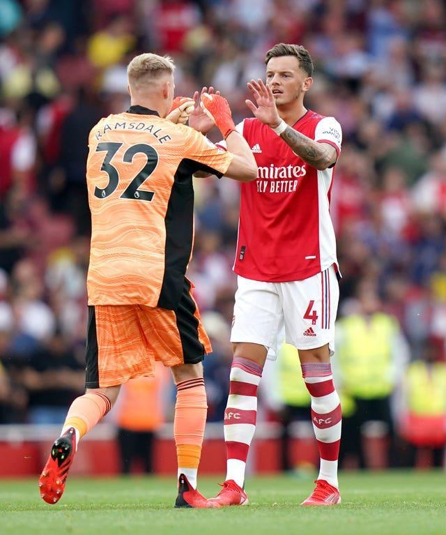 Aaron Ramsdale (left) and Ben White celebrate Arsenal's win