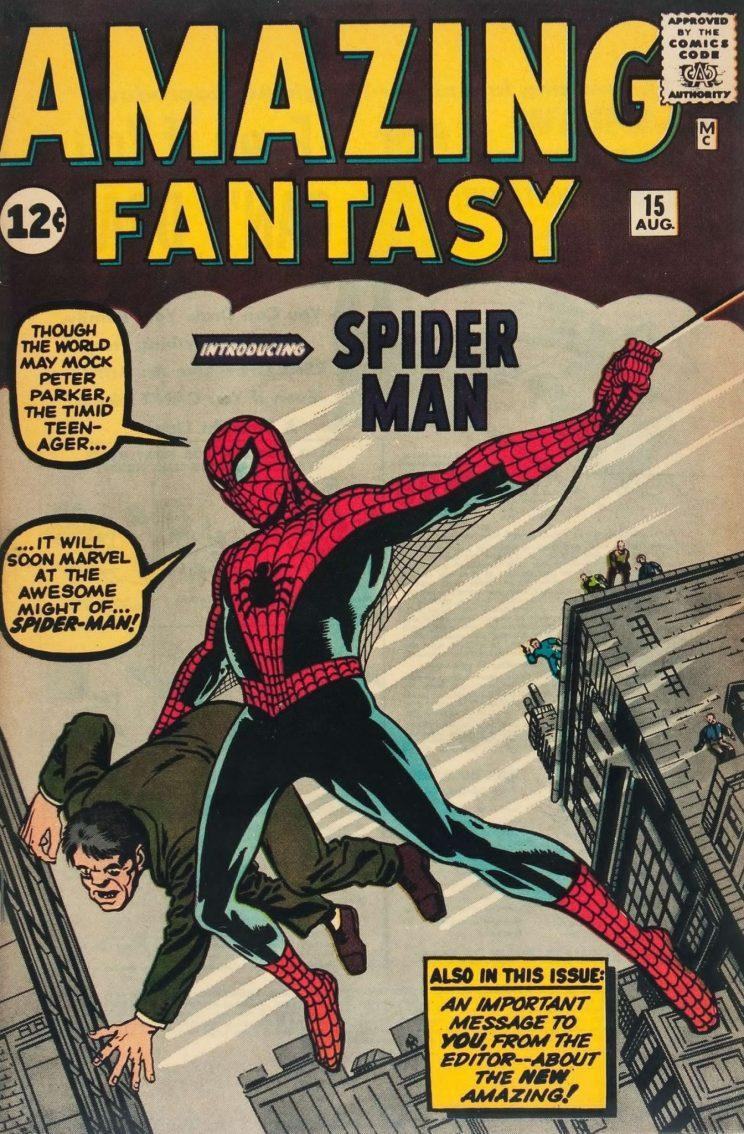 Spidey's first appearance in a 1962 issue of Marvel's 'Amazing Fantasy' comic (Marvel)