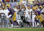 LSU defensive end Andre Anthony (3) returns a Central Michigan fumble for a touchdown during the first quarter of an NCAA college football game in Baton Rouge, La,. Saturday, Sept. 18, 2021. (AP Photo/Derick Hingle)