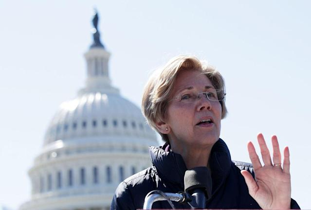 WASHINGTON, DC – MARCH 22: U.S. Sen. Elizabeth Warren (D-MA) speaks during a rally in front of the Capitol March 22, 2017 in Washington, DC. Sanders urged the U.S. Sen. Bernie Sanders (I-VT) to reject President Donald Trump's nomination of Jay Clayton to head the Securities and Exchange Commission. (Photo by Alex Wong/Getty Images)