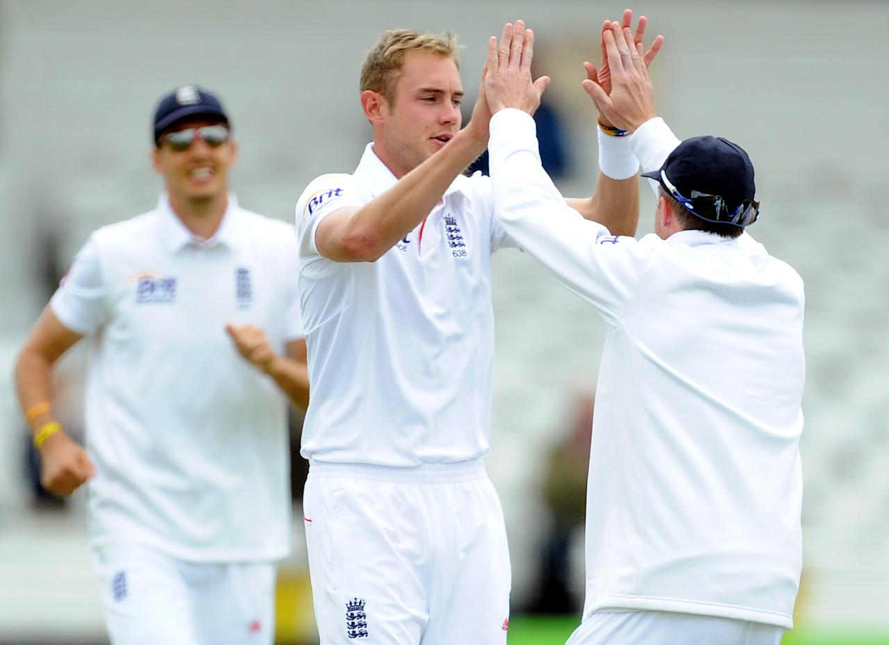 England's Stuart Broad celebrates the wicket of New Zealand's Peter Fulton during the Second Investec Test match at Headingley, Leeds.