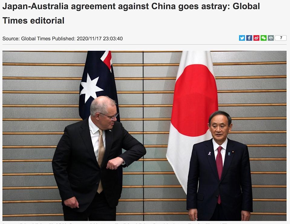 China's coverage sought to paint the deal in a rather disparaging light. Source: Global Times