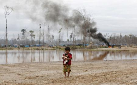 FILE PHOTO: A boy carries a dog as he stands after a Peruvian police operation to destroy illegal gold mining camps in a zone known as Mega 14, in the southern Amazon region of Madre de Dios, Peru, July 14, 2015.  REUTERS/Janine Costa/File Photo