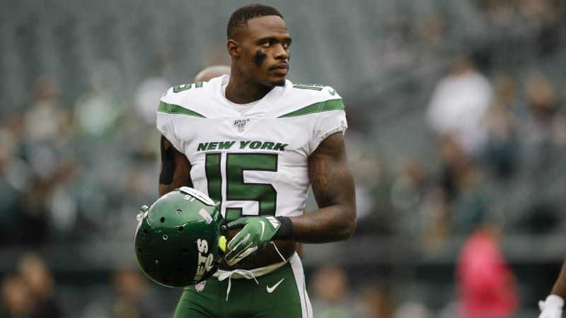 Former New York Jets wide receiver Josh Bellamy was arrested Thursday and faces serious fraud charges. (AP Photo/Matt Rourke)