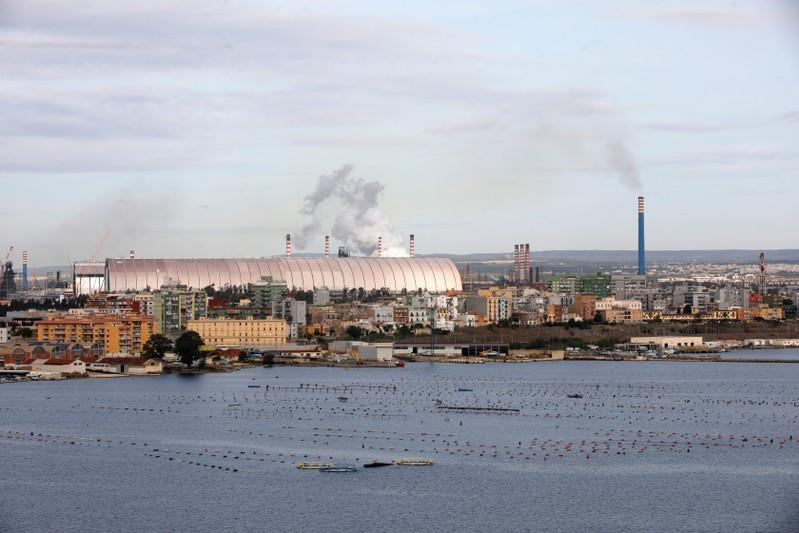 The Ilva steel plant is seen in Taranto