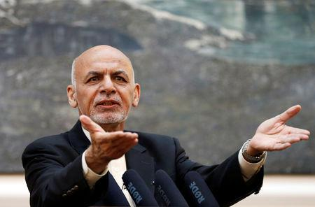 FILE PHOTO: Afghan President Ashraf Ghani speaks during a news conference in Kabul, Afghanistan July 15, 2018. REUTERS/Mohammad Ismail/File Photo
