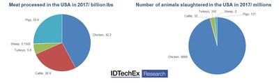 """The meat industry is huge and unsustainable, data from the IDTechEx report """"Plant-based and cultured meat 2020-2030: technologies, markets and forecasts in novel meat replacements"""" (www.IDTechEx.com/AltMeat)."""