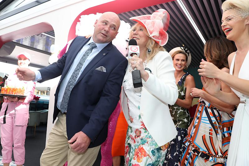 MELBOURNE, AUSTRALIA - OCTOBER 31: Peter Moody dances with Kerri-Anne Kennerley at the Channel 10 marquee during the Birdcage Marquee Preview Day ahead of the Melbourne Cup Carnival on October 31, 2019 in Melbourne, Australia. (Photo by Robert Cianflone/Getty Images)