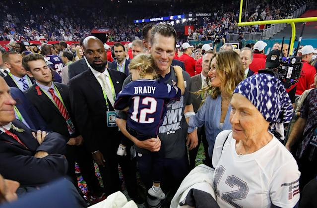 Tom Brady soaks in his last Super Bowl victory with his daughter, wife and his mother in Houston in February 2017. (Getty Images)