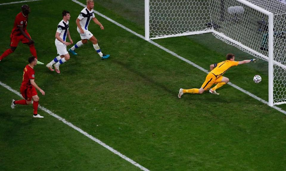 Lucas Hradecky is unable to prevent the ball crossing the line after hitting the bar and rebounding off him
