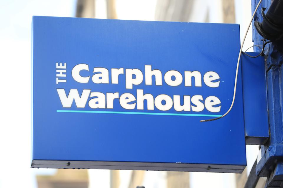 A view of a sign for a Carphone Warehouse mobile phone retailer in London.
