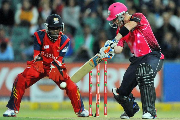 Brad Haddin (R) of the Sixers in action during the Karbonn Smart CLT20 Final match between bizhub Highveld Lions and Sydney Sixers at Bidvest Wanderers Stadium on October 28, 2012 in Johannesburg, South Africa. (Photo by Duif du Toit/Gallo Images/Getty Images)