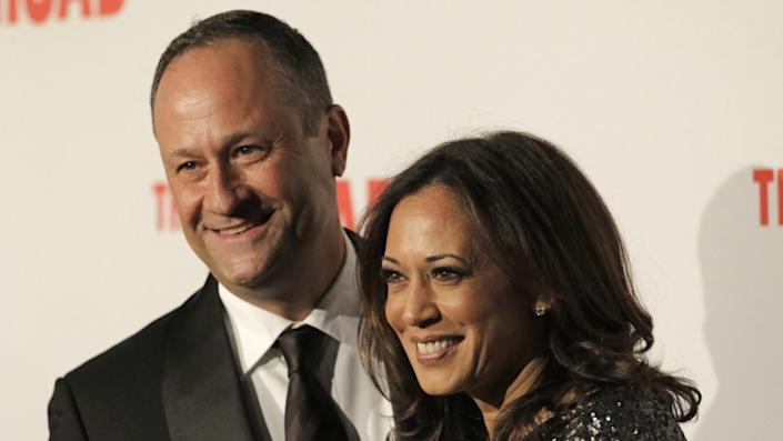 Kamala Harris with husband Douglas Emhoff on the red carpet at the Broad Museum's gala in September.