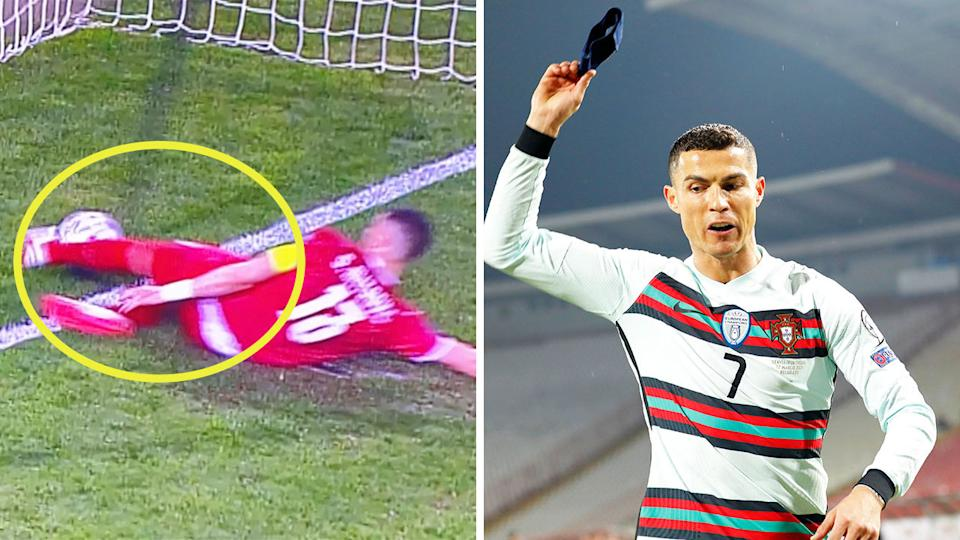 Cristiano Ronaldo (pictured right) throwing his armband pitch after his shot (pictured left) was deemed not to have crossed the line.