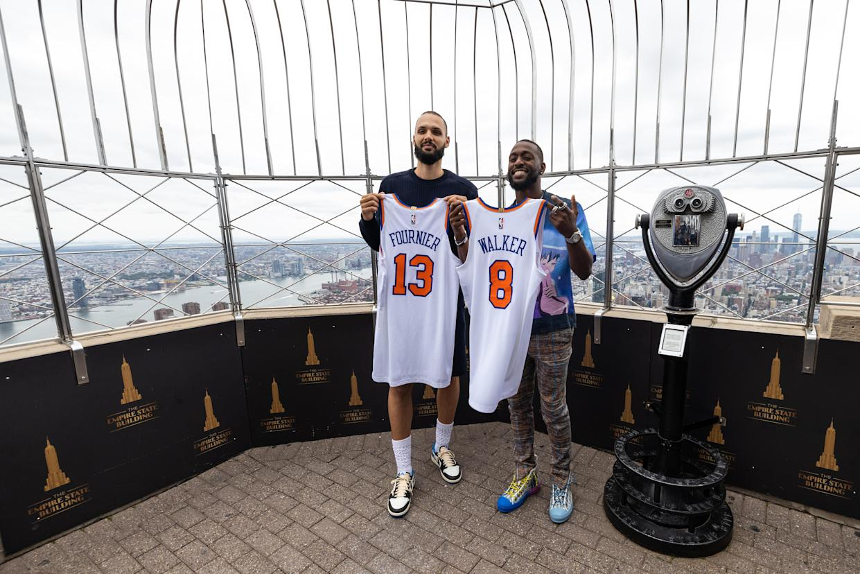 NEW YORK, NY - AUGUST 17: Evan Fournier #13 and Kemba Walker #8 of the New York Knicks