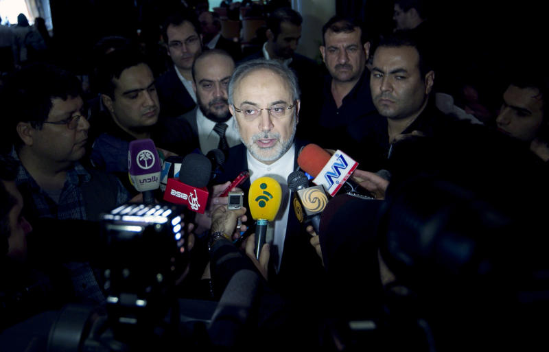 """Iranian Foreign Minister, Ali Akbar Salehi, center, speaks with media, prior to start the """"Syria National Dialog"""" conference, at the Esteghlal Hotel in Tehran, Iran, Sunday, Nov. 18, 2012. Iran held Sunday a conference to reconcile Syria's government with opposition factions and end the country's civil war, the official IRNA news agency reported. (AP Photo/Vahid Salemi)"""