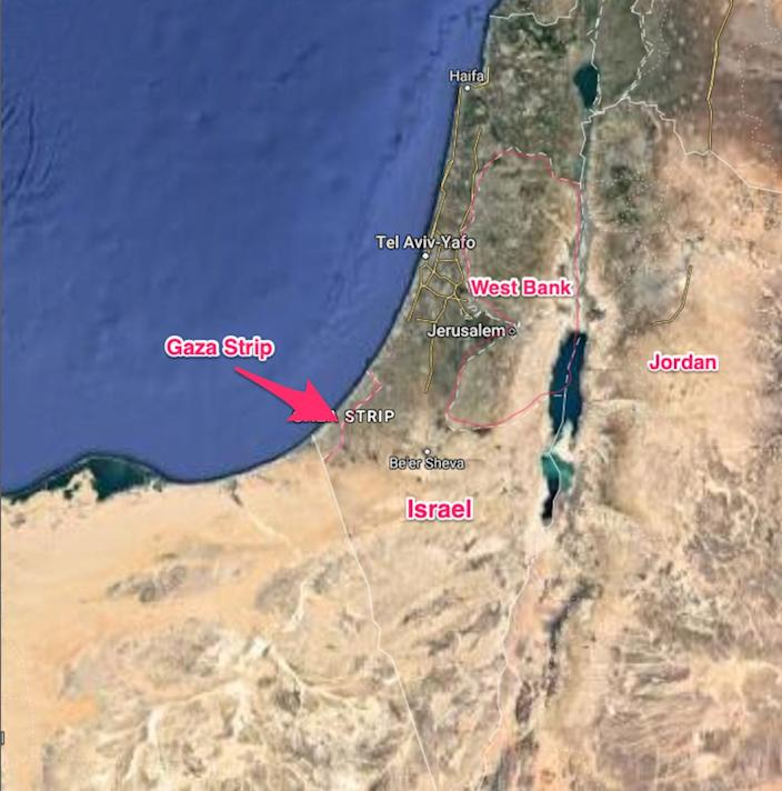 A map of Israel, the West Bank, and the Gaza Strip.