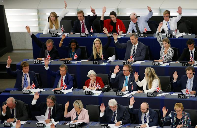 Hand up if you are the highest earners. Brexit Party MEPs in the European Parliament (REUTERS/Vincent Kessler)