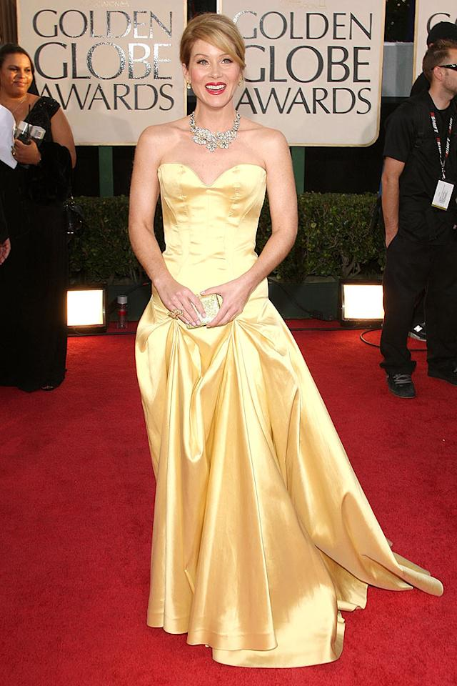 "Christina Applegate's Lorraine Schwartz necklace was hot; her buttery Roberto Cavalli ""Beauty and the Beast""-inspired frock was not. Jason Merritt/<a href=""http://www.gettyimages.com/"" target=""new"">GettyImages.com</a> - January 11, 2009"