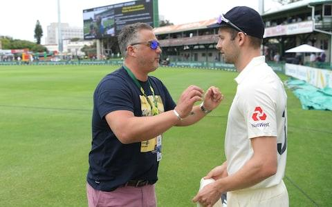Mark Wood of England listens to former player and TalkSport commentator Darren Gough before Day Four of the Third Test between South Africa and England at St George's Park - Credit: Stu Forster/Getty Images