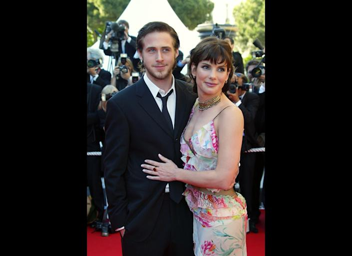 "The hunky heartthrob and funny girl were together from 2002 to 2003. ""I had two of the greatest girlfriends of all time. I haven't met anybody who could top them,""<a href=""http://www.usmagazine.com/celebrity-news/news/ryan-gosling-exes-sandra-bullock-rachel-were-the-best-girlfriends-ever-2011179#ixzz1wZWnD4oD"" rel=""nofollow noopener"" target=""_blank"" data-ylk=""slk:Gosling told Us Weekly"" class=""link rapid-noclick-resp""> Gosling told <em>Us Weekly</em> </a>in 2011 (about Bullock and Rachel McAdams, whom he dated afterward). We wonder what current amour Eva Mendes might have to say about that?"