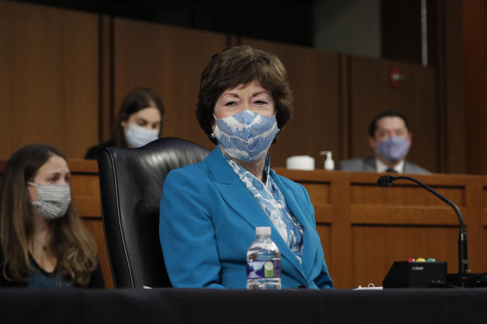 Sen. Susan Collins, R-Maine, listens during a Senate Health, Education, Labor, and Pensions committee hearing on Capitol Hill in Washington on Thursday, Feb. 25, 2021. (Tom Brenner/Pool via AP)