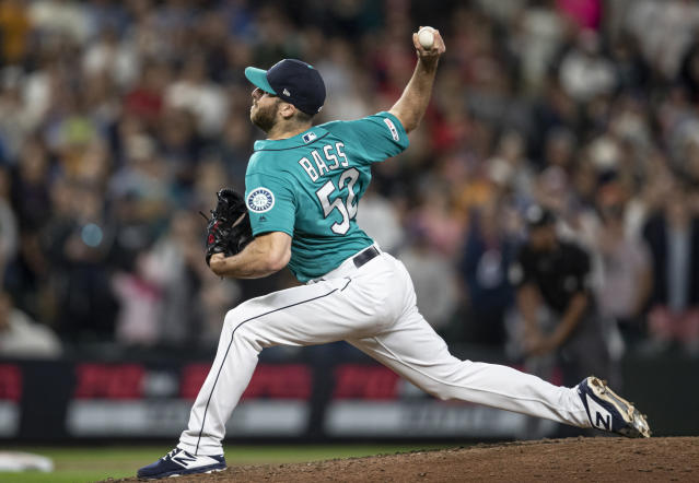 Seattle Mariners reliever Anthony Bass delivers a pitch during the ninth inning of the team's baseball game against the Los Angeles Angels, Friday, May 31, 2019, in Seattle. The Mariners won 4-3. (AP Photo/Stephen Brashear)