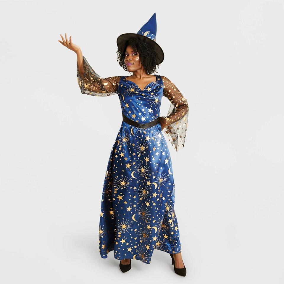 <p>If your all about the celestial life and love astrology, the <span>Hyde &amp; EEK! Boutique Adult Navy Moonlight Witch Halloween Costume with Hat</span> ($35) is a bewitching costume. The stars aligned for you to get this one!</p>