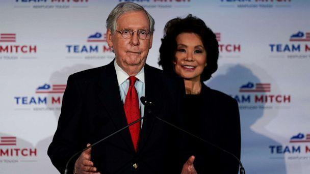PHOTO: Senate Majority Leader Mitch McConnell, accompanied by his wife, Secretary of Transportation Elaine Chao, holds a post election news conference as he declares victory, in Louisville, Ky., Nov. 3, 2020. (Bryan Woolston/Reuters)