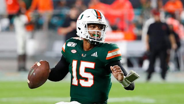 Miami quarterback Jarren Williams drops back to pass during the second half of an NCAA college football game against Louisville, Saturday, Nov. 9, 2019, in Miami Gardens, Fla. Miami defeated Louisville 52-27. (AP Photo/Wilfredo Lee)