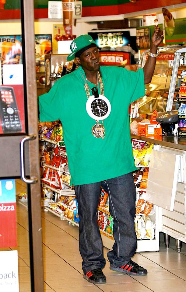 "The rapper might consider 911 a joke, but clearly 7-11 is serious business. Perhaps he could also use a Big Gulp to re-energize after a long day of fighting the power. Noah Fink/<a href=""http://www.x17online.com"" target=""new"">X17 Online</a> - August 11, 2009"