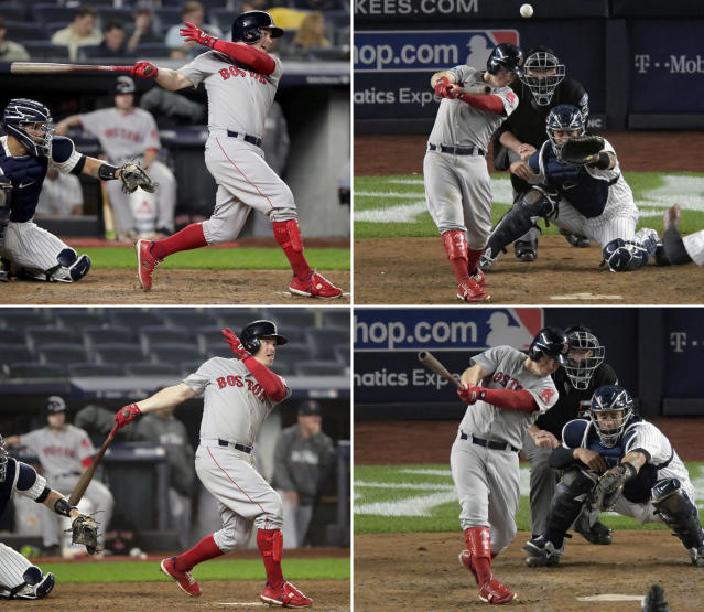FILE - Clockwise from top left: Boston Red Sox's Brock Holt connects for a base hit in the fourth inning, hits a ground-rule double in the eighth inning, hits a two-run triple in the fourth inning, and follows through on a two-run home run in the ninth inning, becoming the first player to hit for the cycle in a postseason game against the New York Yankees in Game 3 of baseball's American League Division Series in New York, Monday, Oct. 8, 2018. The Red Sox beat the Yankees 16-1. (AP Photo/File)