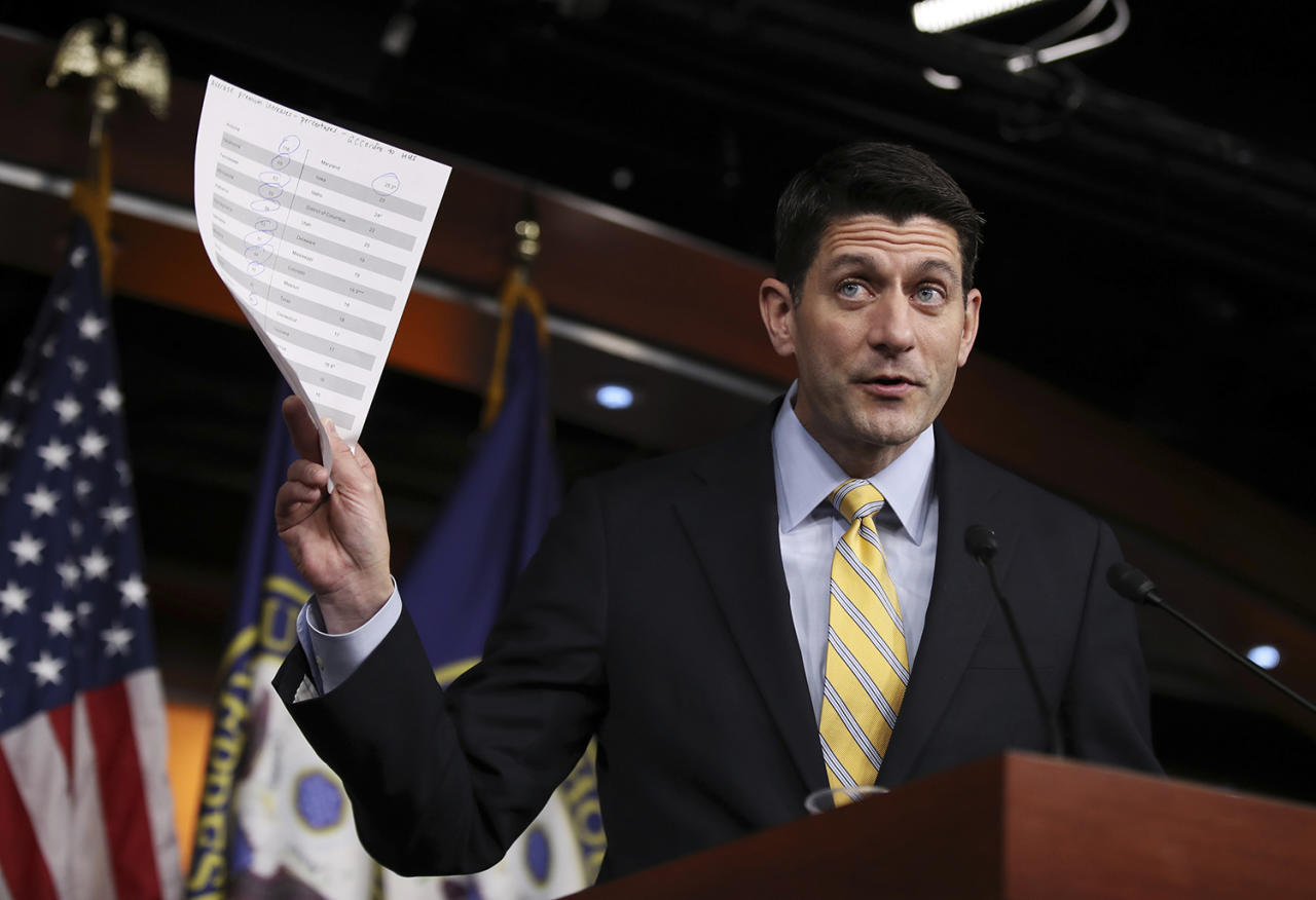 <p>House Speaker Paul Ryan of Wisconsin holds his copy of insurance premium statistics during a news conference on Capitol Hill in Washington, Jan. 5, 2017. (Photo: Manuel Balce Ceneta/AP) </p>