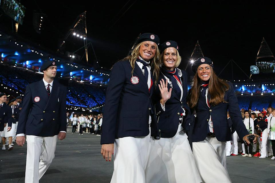 <p>As for the rest of the uniform, the team stuck with their navy blazers (this time double-breasted) and patriotic neckties, but the men sported white pants white the female athletes wore knee-length white skirts. The uniforms were met with backlash because, though designed by an American designer, they were made in China. </p>