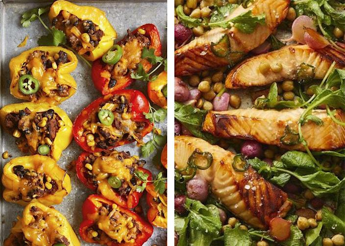"<p>Coming up with exciting, delicious <a href=""https://www.womansday.com/food-recipes/food-drinks/g1870/easy-chicken-dinner-recipes/"" rel=""nofollow noopener"" target=""_blank"" data-ylk=""slk:dinners for your family"" class=""link rapid-noclick-resp"">dinners for your family </a>can feel overwhelming, especially if you're trying to eat a healthy, well-balanced meal. In fact, finding the time, effort, and energy to create <a href=""https://www.womansday.com/food-recipes/cooking-tips/a50050/5-simple-ways-to-cook-healthy-meals-without-going-over-budget/"" rel=""nofollow noopener"" target=""_blank"" data-ylk=""slk:healthy meals"" class=""link rapid-noclick-resp"">healthy meals</a> that your <a href=""https://www.womansday.com/health-fitness/nutrition/a56204/healthy-foods-for-kids/"" rel=""nofollow noopener"" target=""_blank"" data-ylk=""slk:kids will actually eat"" class=""link rapid-noclick-resp"">kids will actually eat</a> can feel downright impossible. But even the pickiest of eaters will love these <a href=""https://www.womansday.com/food-recipes/food-drinks/g2176/hearty-healthy-recipes/"" rel=""nofollow noopener"" target=""_blank"" data-ylk=""slk:healthy dinners"" class=""link rapid-noclick-resp"">healthy dinners</a>, so before you know it the following light, <a href=""https://www.womansday.com/food-recipes/food-drinks/g3226/easy-dinner-recipes-for-kids/"" rel=""nofollow noopener"" target=""_blank"" data-ylk=""slk:easy recipes"" class=""link rapid-noclick-resp"">easy recipes</a> will be part of dinner rotation with no complaints. </p><p>From different <a href=""https://www.womansday.com/food-recipes/food-drinks/g24/10-pizza-recipes-pizzazz-62794/"" rel=""nofollow noopener"" target=""_blank"" data-ylk=""slk:types of pizzas"" class=""link rapid-noclick-resp"">types of pizzas</a>, to tacos, to all of the kebobs they could possibly want, these recipes prove that <a href=""https://www.womansday.com/food-recipes/g2559/gluten-free-dinner-recipes/"" rel=""nofollow noopener"" target=""_blank"" data-ylk=""slk:healthy dinners"" class=""link rapid-noclick-resp"">healthy dinners</a> don't have to be boring. ""The components of a 'healthy' meal, whether breakfast, lunch, or dinner, are like the legs of a stool — they all need to work together to give us strength and balance,"" Bonnie Taub-Dix, RDN, creator of <a href=""https://urldefense.com/v3/__http://BetterThanDieting.com__;!!Ivohdkk!1mQTAwR41APzZtIlHsMcOdtXIHj5hpmRDP92hB8J8AqXdk4AEvdiQSJ6b69R4BF7_Q$"" rel=""nofollow noopener"" target=""_blank"" data-ylk=""slk:BetterThanDieting.com"" class=""link rapid-noclick-resp"">BetterThanDieting.com</a>, author of <em><a href=""https://www.amazon.com/Read-Before-You-Eat-Taking/dp/1979739722"" rel=""nofollow noopener"" target=""_blank"" data-ylk=""slk:Read It Before You Eat It"" class=""link rapid-noclick-resp"">Read It Before You Eat It </a>— Taking You from Label to Table, </em>tells Woman's Day. ""My recommendation for a meal trifecta is a combo of lean protein, whole grain carbohydrates, and healthy fats."" Following Taub-Dix's trifecta allows you and your family to feel full and satisfied after eating, without relying on large portions or restrictive dieting. ""As an example, a healthy plate for lunch or dinner should contain a protein like seafood, poultry, eggs, or beans; a side of veggies or salad, and a whole grain like bread, farro, brown rice, or pasta,"" she says. ""Adding fruit to your salad boosts this meal even further."" </p><p>With over 100 light yet filling <a href=""https://www.womansday.com/food-recipes/food-drinks/g28543068/steak-dinner-ideas/"" rel=""nofollow noopener"" target=""_blank"" data-ylk=""slk:dinner recipes"" class=""link rapid-noclick-resp"">dinner recipes</a>, you'll never substitute flavor for substance again. Packed with tasty, good-for-you ingredients, these recipes won't have your family scrounging the kitchen for after-dinner snacks, and there's enough variety to keep them interested every night. </p>"