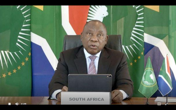 PHOTO: This video grab taken on May 18, 2020 from the website of the World Health Organization shows South African President Cyril Ramaphosa delivering a speech via video link at the opening of the 73rd World Health Assembly amid the coronavirus pandemic. (World Health Organization/AFP via Getty Images)
