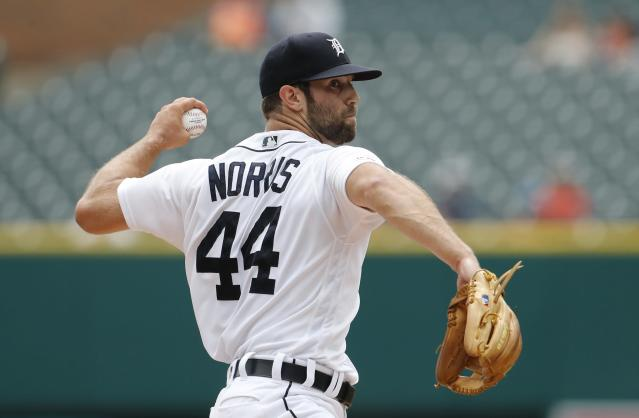 Detroit Tigers starting pitcher Daniel Norris throws during the first inning of a baseball game against the Tampa Bay Rays, Thursday, June 6, 2019, in Detroit. (AP Photo/Carlos Osorio)