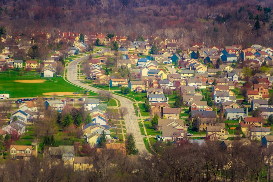 The suburban outskirts of Columbus, Ohio, seen from the airplane landing in Port Columbus International Airport.