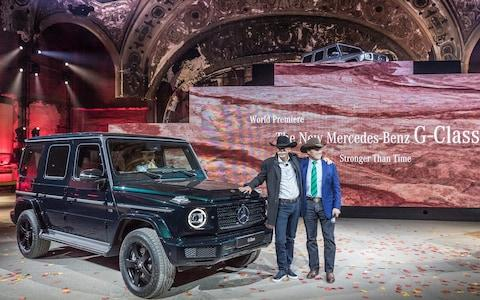 Mercedes G-wagen reveal at Merc eve of show event - Detroit Jan 2018 - Dieter Zetsche and Arnold Schwarzenegger