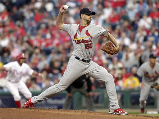 St. Louis Cardinals starting pitcher Adam Wainwright throws against the Philadelphia Phillies in the first inning of a baseball game on Thursday, April 18, 2013, in Philadelphia. (AP Photo/H. Rumph Jr)