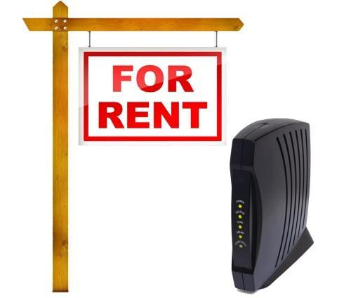 Modem and 'For Rent' sign
