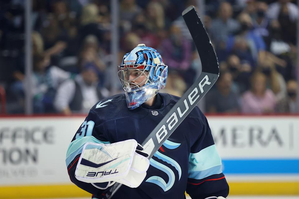 SPOKANE, WASHINGTON - SEPTEMBER 26: Philipp Grubauer #31 of the Seattle Kraken looks on in the second period against the Vancouver Canucks during a preseason game at Spokane Veterans Memorial Arena on September 26, 2021 in Spokane, Washington. (Photo by Abbie Parr/Getty Images)