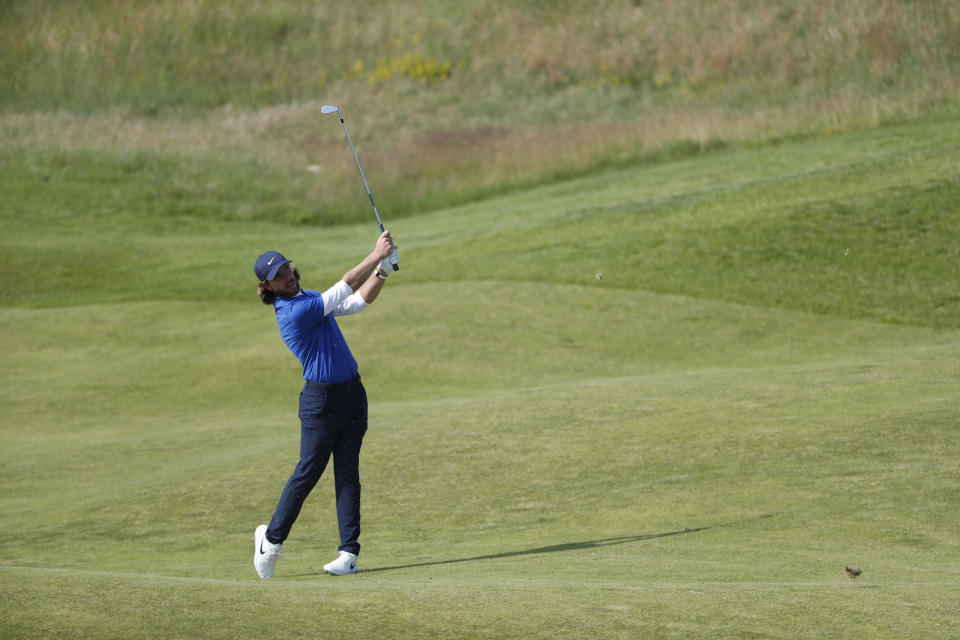 England's Tommy Fleetwood plays from the 10th fairway during a practice round for the British Open Golf Championship at Royal St George's golf course Sandwich, England, Tuesday, July 13, 2021. The Open starts Thursday, July, 15. (AP Photo/Peter Morrison)