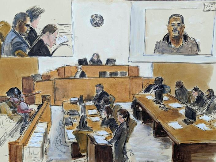 A courtroom sketch of the scene at R. Kelly's trial.