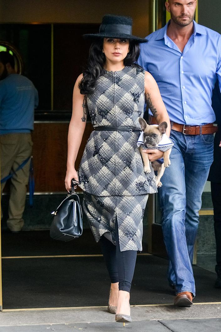 """Lady Gaga leaving her apartment with her dog Koji in New York City.<span class=""""copyright"""">MPI67/Bauer-Griffin/Getty Images</span>"""