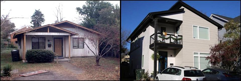 Photos of the home at 1513 E. Jones Street on December 6, 2011, left, and December 3, 2020.