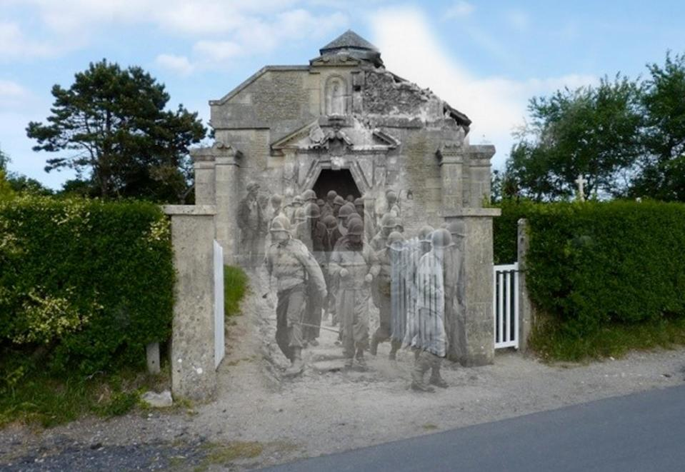 """Soldiers leave a church, La Madeleine a Sainte Marie du Mont, in Manche, a town in Normandy.<br><br>(<a href=""""http://www.flickr.com/photos/hab3045/collections/72157629378669812/"""" rel=""""nofollow noopener"""" target=""""_blank"""" data-ylk=""""slk:Courtesy of Jo Teeuwisse"""" class=""""link rapid-noclick-resp"""">Courtesy of Jo Teeuwisse</a>)"""