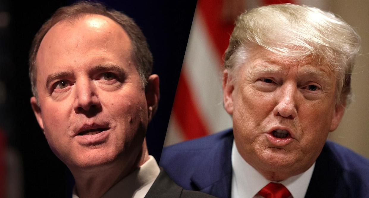 Rep. Adam Schiff, D-Calif., and President Trump (Photos: Scott Olson/Getty Images, Carolyn Kaster/AP)