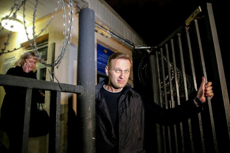Russian opposition leader Alexei Navalny, seen here leaving a Moscow police station last month, was released from jail Sunday after serving a 20-day sentence for organising illegal protests