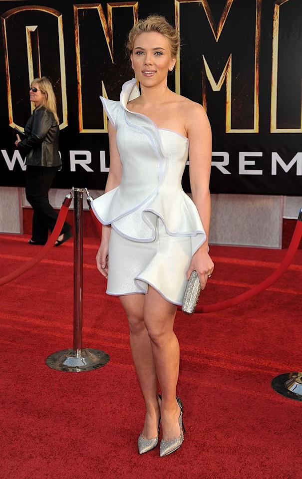 """Summer blockbuster season is officially underway, and one of its biggest stars, Scarlett Johansson, didn't disappoint at the premiere of her soon-to-be smash """"Iron Man 2"""" in a structured, one-shoulder Armani Prive masterpiece and sparkly pumps. Lester Cohen/<a href=""""http://www.wireimage.com"""" target=""""new"""">WireImage.com</a> - April 26, 2010"""
